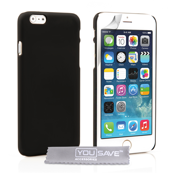 Yousave Accessories iPhone 6 and 6s Hard Hybrid Case - Black