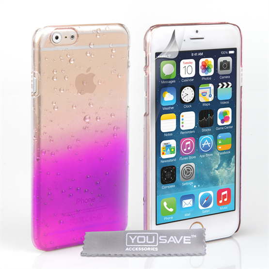 Yousave Accessories iPhone 6 and 6s Raindrop Hard Case - Purple-Clear