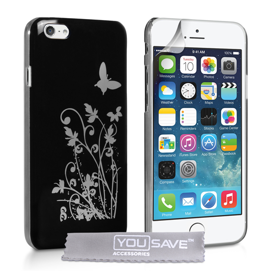 Yousave Accessories iPhone 6 and 6s Floral Butterfly Hard Case - Black-Silver