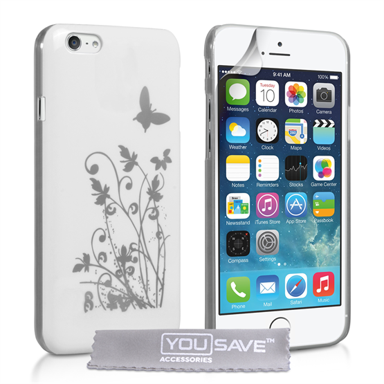 Yousave Accessories iPhone 6 and 6s Floral Butterfly Hard Case - White-Silver