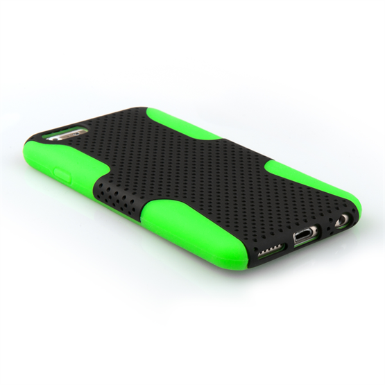 Yousave Accessories iPhone 6 and 6s Tough Mesh Combo Silicone Case - Green-Black