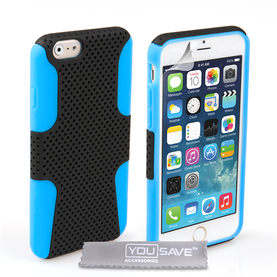 Yousave Accessories iPhone 6 and 6s Tough Mesh Combo Silicone Case - Blue-Black