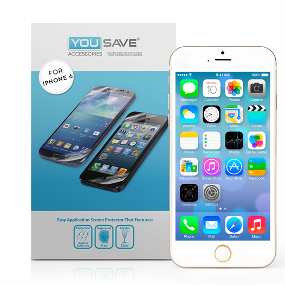 Yousave Accessories Apple iPhone 6 and 6s Screen Protectors X 3