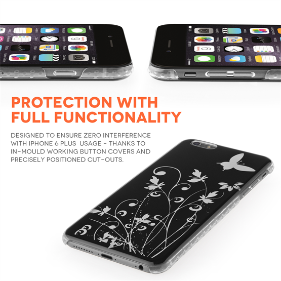 Yousave Accessories iPhone 6 Plus and 6s Plus Floral Butterfly Hard Case - Black-Silver