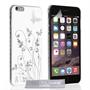 Yousave Accessories iPhone 6 Plus and 6s Plus Floral Butterfly Hard Case - White-Silver