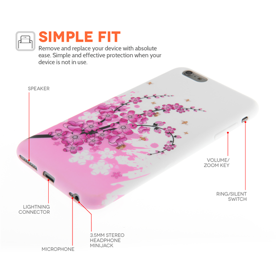 Yousave Accessories iPhone 6 Plus and 6s Plus Floral Bee Silicone Gel Case