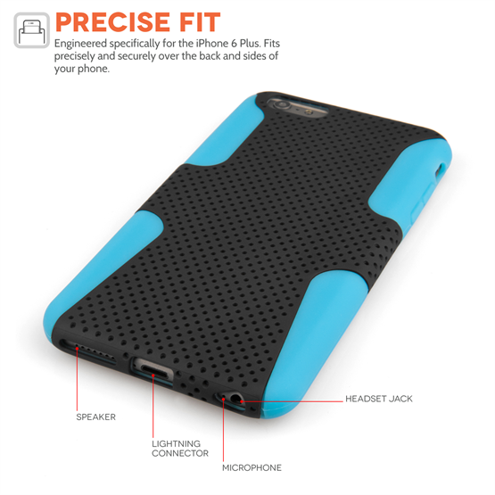 Yousave Accessories iPhone 6 Plus and 6s Plus Tough Mesh Combo Silicone Case - Blue-Black