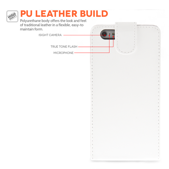 Yousave Accessories iPhone 6 Plus and 6s Plus Leather-Effect Flip Case - White