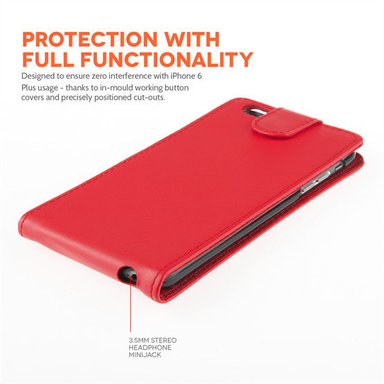 Yousave Accessories iPhone 6 Plus and 6s Plus Leather-Effect Flip Case - Red