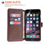 Yousave Accessories iPhone 6 Plus and 6s Plus Leather-Effect Stand Wallet Case - Black
