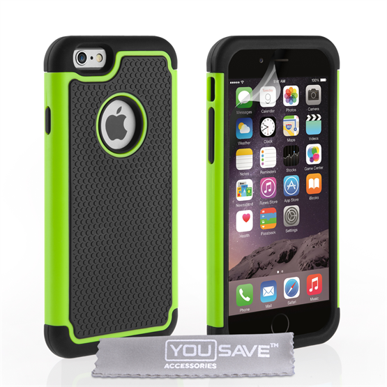 Yousave Accessories iPhone 6 and 6s  Grip Combo Silicone Case - Green-Black