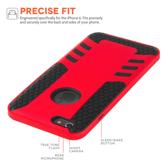 Yousave Accessories Apple iPhone 6 and 6s Red Border Combo Case