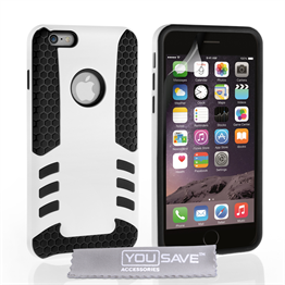 YouSave Accessories Apple iPhone 6 Border Combo Case - White