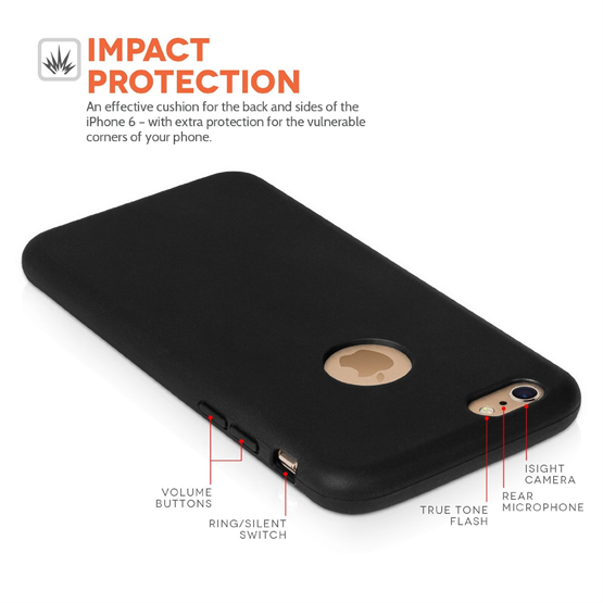 Yousave Accessories Apple iPhone 6 and 6s  TPU Silicone Wallet - Black