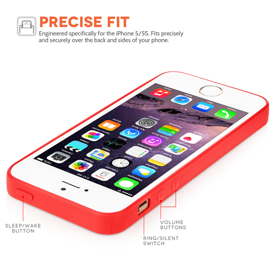 Yousave Accessories  iPhone 5/5S Ultra Thin Gel - New Solid Red Case