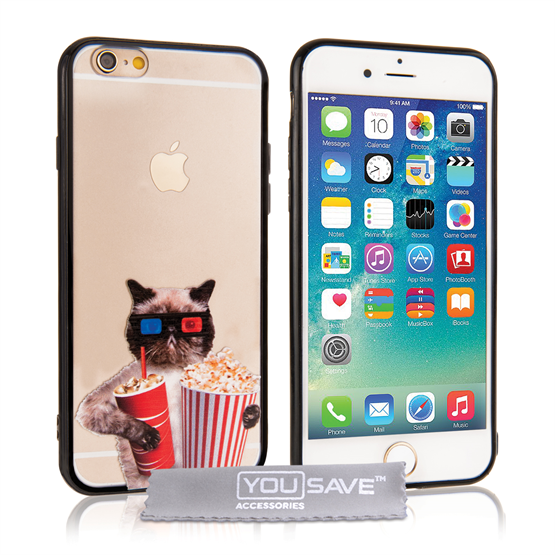 Yousave Accessories iPhone 6 and 6s Fun Case Popcorn Cat
