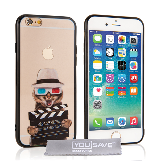 Yousave Accessories iPhone 6 and 6s Fun Case Film Cat