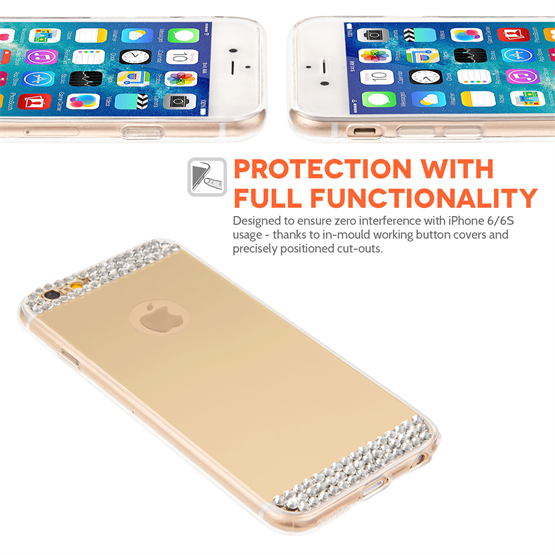 Yousave Accessories iPhone 6 and 6s Mirror Diamond Case - Champagne Gold