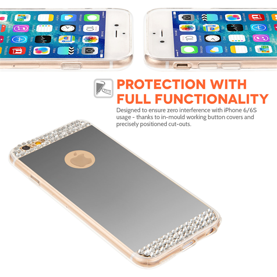 Yousave Accessories iPhone 6 and 6s Mirror Diamond Case - Silver