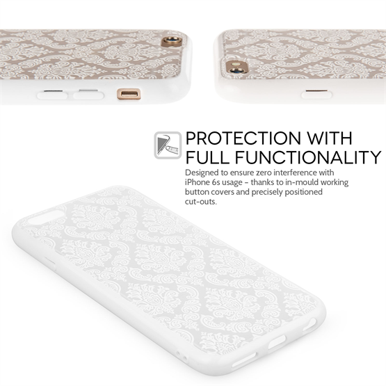 Yousave Accessories iPhone 6 and 6s TPU Hard Case - Damask White