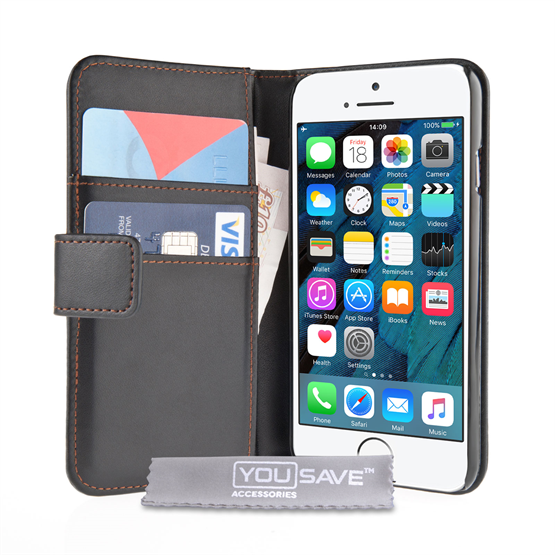Yousave Accessories iPhone SE Leather-Effect Wallet Case - Black