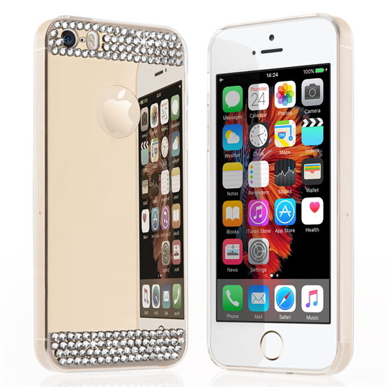 Yousave Accessories iPhone SE Mirror Diamond Case - Champagne Gold