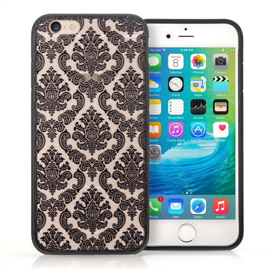 YouSave Accessories iPhone 7 TPU Hard Case - Damask Black