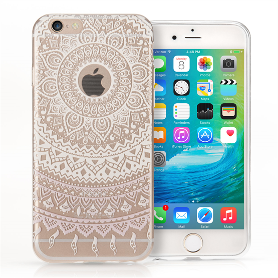 YouSave Accessories iPhone 7 Plus TPU Mandala Printed Pattern Gel - White