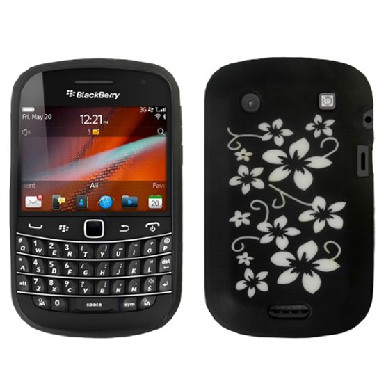 Yousave Accessories Blackberry 9900 Black Floral Silicone