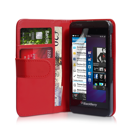 Yousave Accessories Blackberry Z10 PU Wallet Red Case