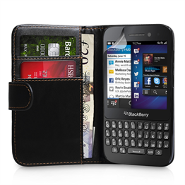 Yousave Accessories Blackberry Q5 PU Wallet- Black