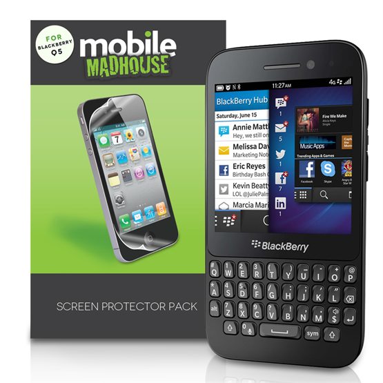 Yousave Accessories Blackberry Q5 Screen Protectors X 5 Clear