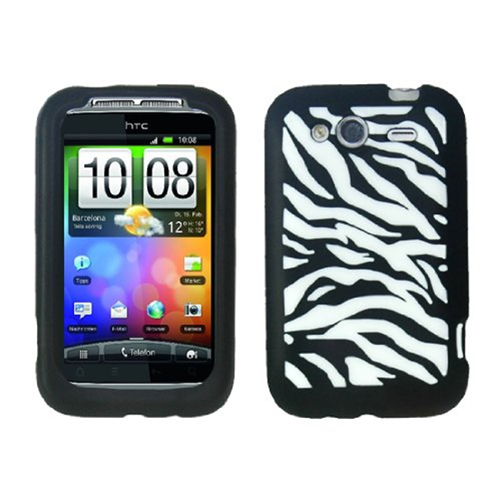 Yousave Accessories HTC Wildfire S Black Zebra Silicone Case
