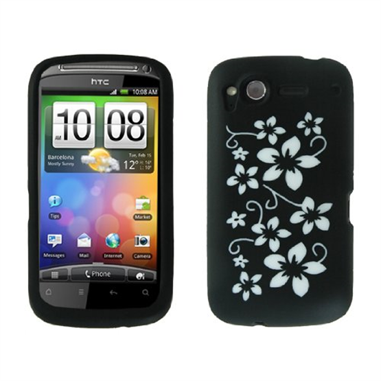 Yousave Accessories HTC Desire S Black Floral Silicone Case