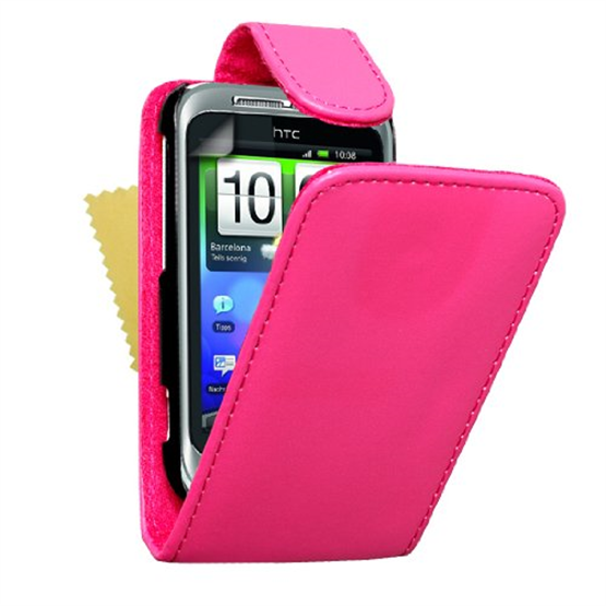 Yousave Accessories HTC Wildfire S PU Flip Hot Pink Case