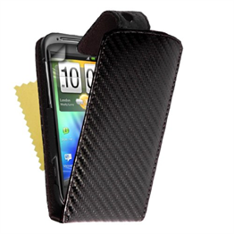 Yousave Accessories HTC Sensation Black Carbon Fibre PU Leather Flip Case