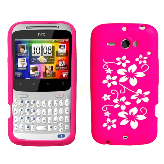 Yousave Accessories HTC Chacha Hot Pink Floral Silicone Case