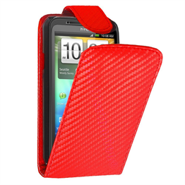 Yousave Accessories HTC Evo 3D Red Carbon Fibre PU Leather Flip Case
