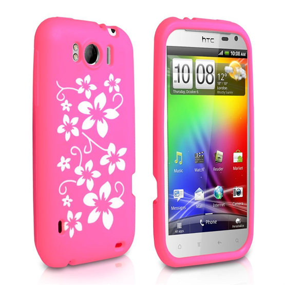 Yousave Accessories HTC Sensation Xl Hot Pink Floral Silicone Case
