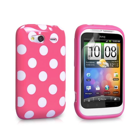 Yousave Accessories HTC Wildfire S Baby Pink Polka Dot Case