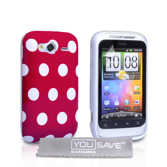 Yousave Accessories HTC Wildfire S Polka Dot Red Case