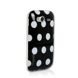 Yousave Accessories HTC Wildfire S Polka Dot Black Case