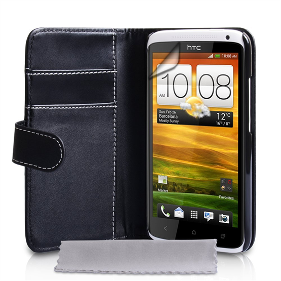 Yousave Accessories HTC One X PU Wallet Black/White Case