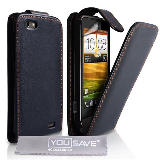 Yousave Accessories HTC One V Flip Pu Black Case