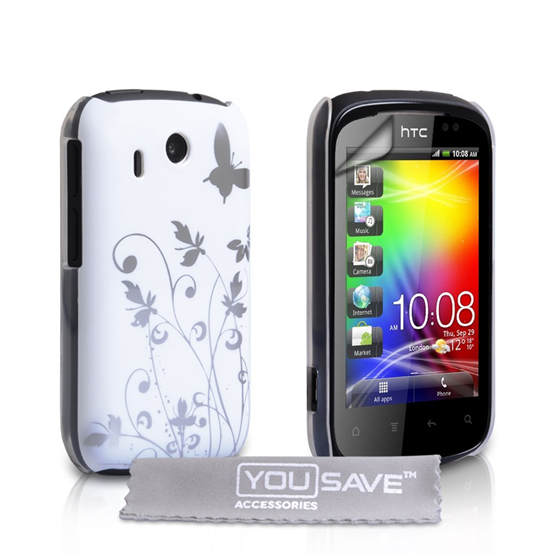 Yousave Accessories HTC Explorer White/Silver Butterfly IMD Case