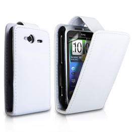 Yousave Accessories HTC Wildfire S Flip Pu White Case