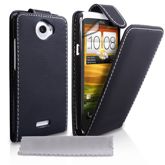 Yousave Accessories HTC One X Leather Effect Flip Case - Black (White Stitching)