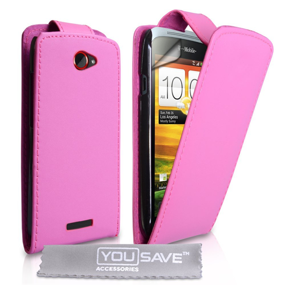 Yousave Accessories HTC One S Hot Pink PU Leather Flip Case