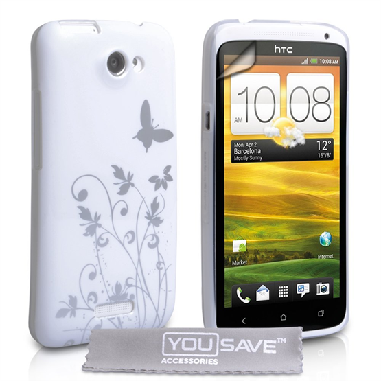 Yousave Accessories HTC One X White/Silver Butterfly IMD Case