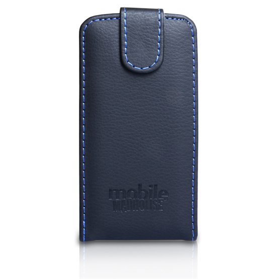 Mobile Madhouse HTC One S Black PU Leather Flip - Blue Stitching